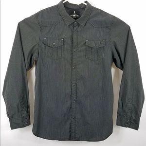 I Jeans By Buffalo Grey Striped Button Shirt XXL